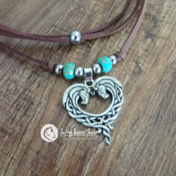 Celtic Boho Horse Head Heart Leather Necklace with Turquoise & Silver Beads