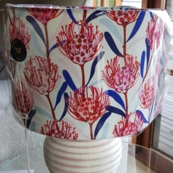 Hand crafted lampshade – Waratah white available to order