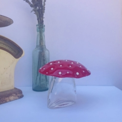 Red and White Dotted Fused Glass Mushroom – every mushroom is unique