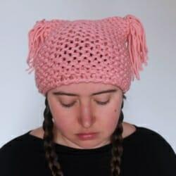 Handmade Knitted Pink Tassel Beanie