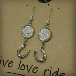 Crystal Horseshoe n Bling Glitter Earrings