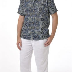Aboriginal Art Australian designed Bamboo shirt for men. Mina Mina