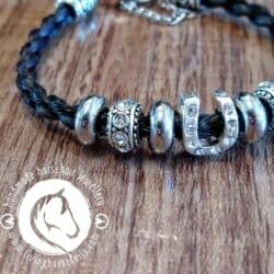 Rhinestone Horseshoe Beaded Horsehair Bracelet