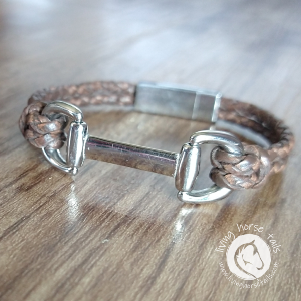Snaffle Bit Leather and Stainless Steel Horse Bracelet angle close up left