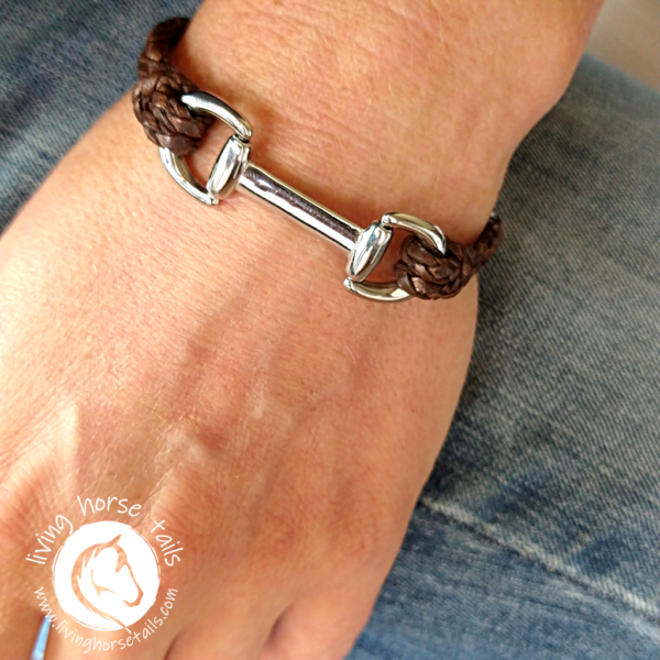 Snaffle Bit Leather and Stainless Steel Horse Bracelet on wrist