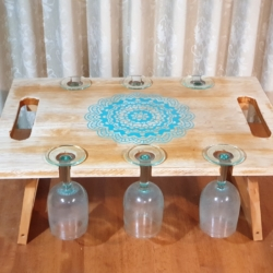Distressed Mandala Wine and Cheese Board