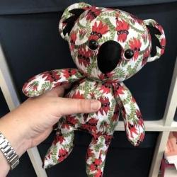 Handmade Soft Toy Baby Koala (Sturt Desert Pea)