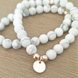 Handmade Howlite & Rose Gold beaded bracelet with Personalised Charm