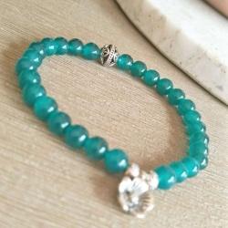 handmade Green Chalcedony & Filigree Tibetan Silver Beaded Bracelet