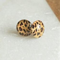 Handmade Glass Leopard Print and Stainless Steel Stud earrings