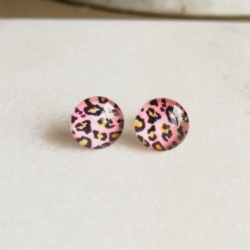 Handmade Pink Leopard Print and Stainless Steel Stud earrings
