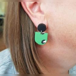 Handmade Green and Black Leopard print inspired Polymer Clay Dangle earrings