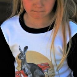 Kangaroo TShirt | Made in Australia | Dusty Road Apparel | Black 3/4 Sleeve
