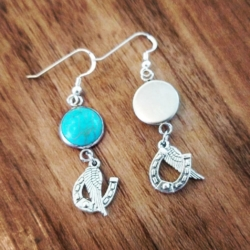 Turquoise Horseshoe and Wing Equestrian Earrings