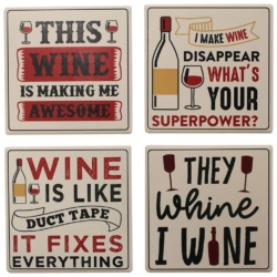 Coasters Set Wine Assorted Pack of 4