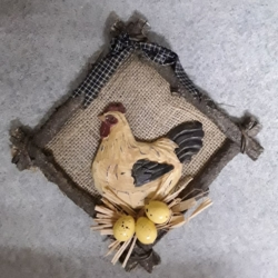 Hessian Hen Wall hanging with eggs