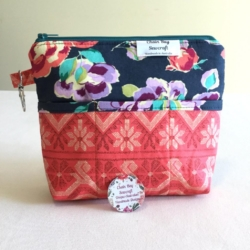 Handmade Handbag Organiser – Blue Floral & Coral