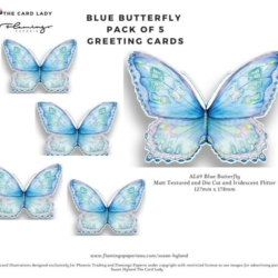 Pack of 5 x Blue Butterfly Greeting Cards and Matched Envelopes