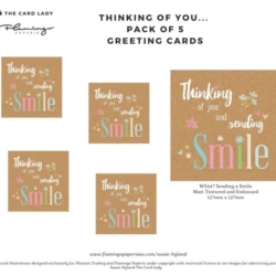 Pack of 5 x Sending a Smile Greeting Cards and Matched Envelopes