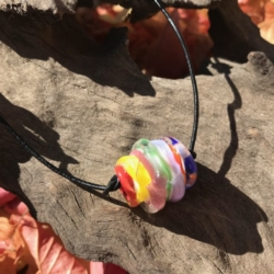 Organic rainbow inspired lampwork bead on adjustable leather cord – white