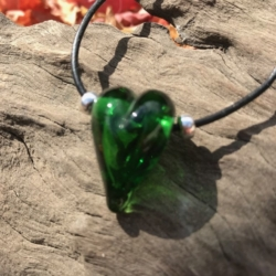 Bottle green love heart lampwork bead leather necklace on adjustable leather cord.