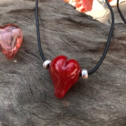 Red love heart lampwork bead leather necklace on adjustable leather cord.