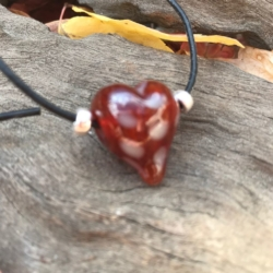 Red and white spotted love heart lampwork bead leather necklace on adjustable leather cord.