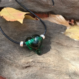 Forest Green love heart lampwork bead leather necklace on adjustable leather cord.
