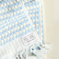 Pale Blue Pompom Hand Towel