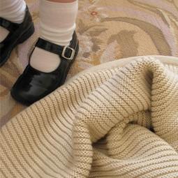 Australian Made, Cotton & Wool Blend Branberry Plain Garter Blanket in Pebble