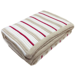 Branberry – Plain Garter Cotton & Wool Blend Blanket in Pebble, Red & White