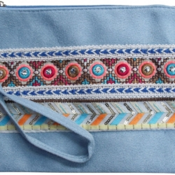 View larger Purse Beaded Aztec Blue