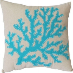 Cushion Blue Coral Polyester filled