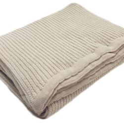 Plain Garter Cotton & Wool Blend Blanket in Pebble