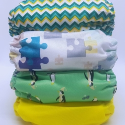 Happy Flute Cloth Nappies 4-Pack Penguins