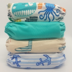 Happy Flute Cloth Nappies 4-Pack Sea Life