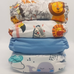 Happy Flute Cloth Nappies 4-Pack Jungle Animals