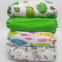 Happy Flute Cloth Nappies 4-Pack Green Fish