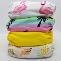Happy Flute Cloth Nappies 4-Pack Tropical Yellow