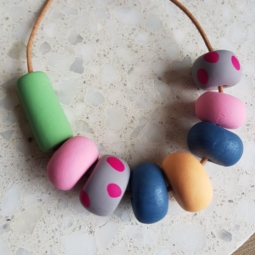 Handmade Leather and Polymer Clay Beaded Necklace