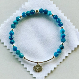 Faceted apatite and sterling silver bracelet