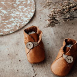Mustard Leather Baby Shoes with Button – 11 cm (6 to 9 mths)