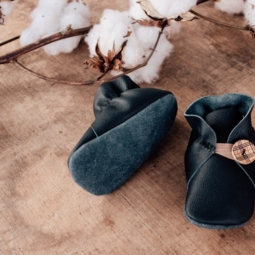 Navy Leather Baby Shoes – 10 cm (3 to 6 mths)