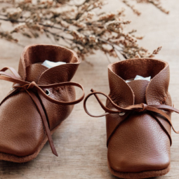 Tan Leather Baby Shoes with Lace – 10 cm (3 to 6 mths)