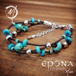 Handmade beaded leather bracelet in turquoise look finish.