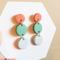 Handmade Terracotta and Sage Green Multi- Circle Polymer Clay Dangle Earrings