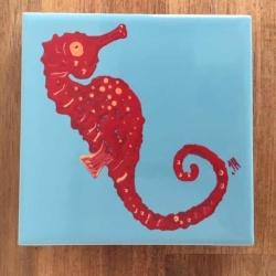 Red Seahorse Ceramic Tile Coaster