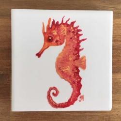 Orange Seahorse Ceramic Tile Coaster