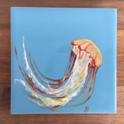 Jellyfish Ceramic Tile Coaster