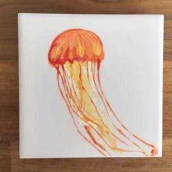 Jellyfish Ceramic Tile Coaster II